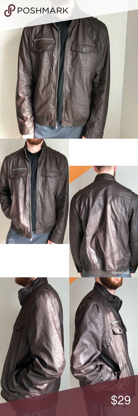 INC Men's Brown Faux Leather Bomber Jacket, Sz. L Faux