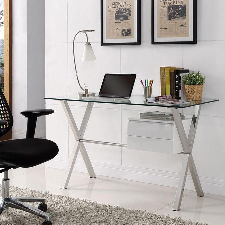 sherwood glass desk w white drawers modern home office eurway