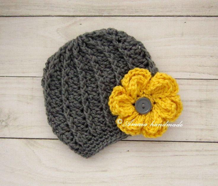 crochet baby hat, baby girl hat, crochet newborn hat, crochet baby beanie, baby girl beanie, baby flower hat, baby flower beanie, baby hat by Amaiahandmade on Etsy