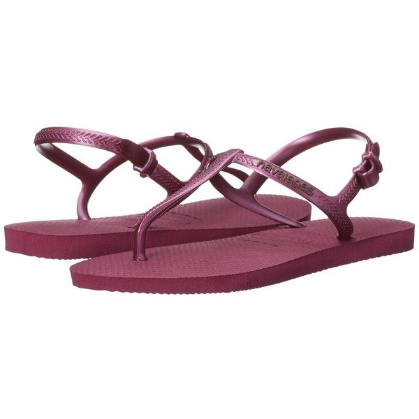 Havaianas Freedom SL Flip-Flops (Acai) Women's Sandals ($32) ❤ liked on Polyvore featuring shoes, sandals, flip flops, slingback flip flops, sling back shoes, havaianas shoes, havaianas and slingback shoes