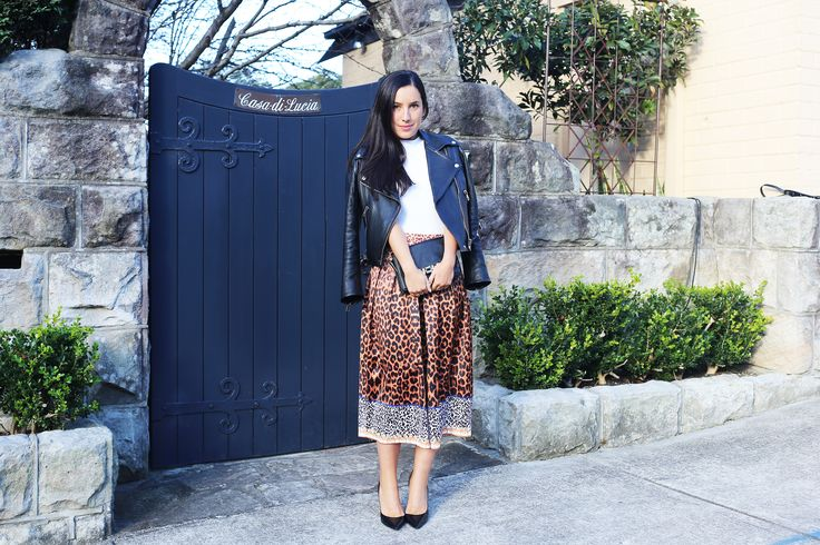 Acne leather jacket, Zara top, MLM the label skirt and Zara heels.