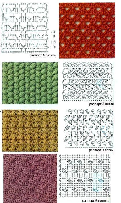 internationalcrochetpatterns:    crochet stitch pattern charts No Link but pretty stitches.
