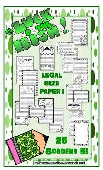 This bundle has 21 pages of St. Patrick's Day themed borders with writing lines on LEGAL SIZE PAPER for maximum writing space!  This includes all borders without writing lines to use for parent notes, word puzzles etc.  You also get 4 half-size borders for writing recipes, making task cards etc.!  All black & white. Designs include, Shamrocks, Rainbows, Pot of Gold and MORE! K, 1, 2, 3, 4, 5, 6 Homeschool $ For all my lessons, follow me at…