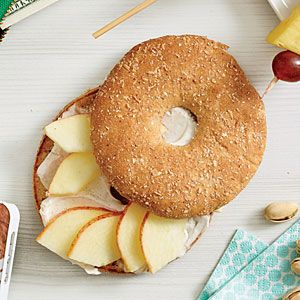 Apple-Cinnamon Bagel | Cooking Light: 1 whole-wheat thin bagel (such as Thomas' Bagel Thins) -  1 wedge 1/3-less-fat cinnamon cream cheese - 1/4 cup sliced apple