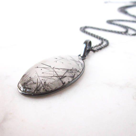 Tourmalinated quartz necklace black rutile stone pendant big