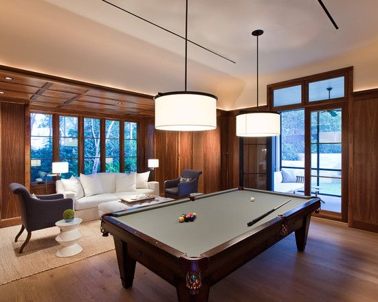 Man Cave Rec Room Ideas Modern Wood Panel Pool Table Lighting FYI Luv T