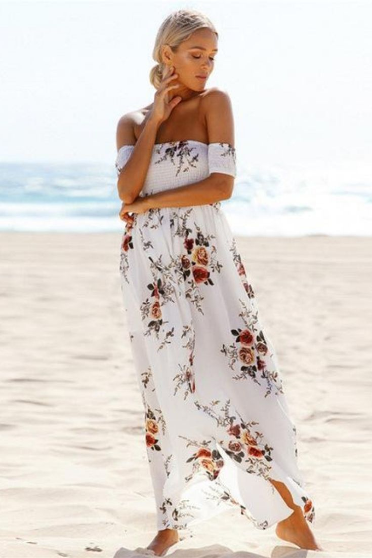 c79bacf3748 Women Off Shoulder Floral Print Beach Summer Dress in 2019