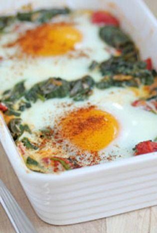 Verdura al horno con huevos. Buenisima cena.