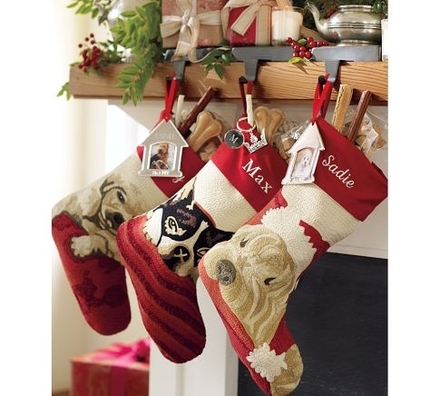 boston terrier crewel embroidered christmas stocking on. Black Bedroom Furniture Sets. Home Design Ideas