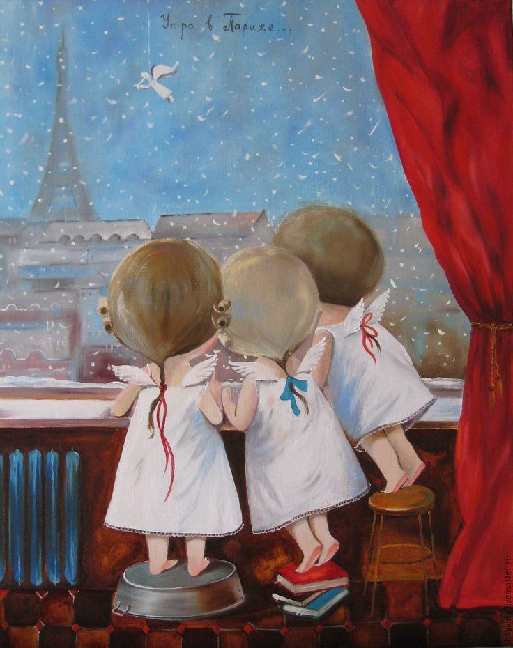 """Купить Картина маслом. Копия картины Е. Гапчинской """"Утро в Париже"""" - картина, картина маслом"""