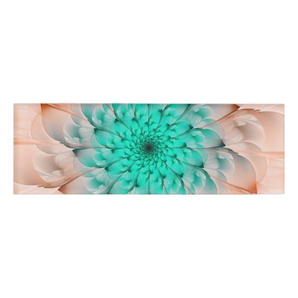 Beautiful Peach Blossom Turquoise Fractal Flower Name Tag Custom nametags #teacher #tutor #business #nametags #officesupplies