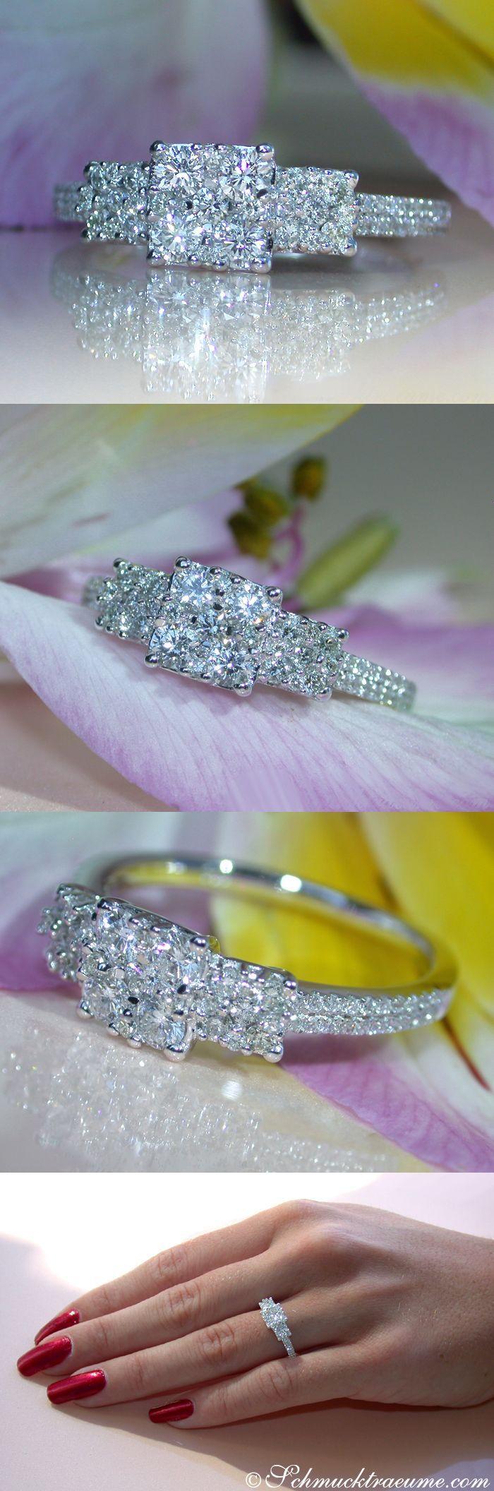 Cute Diamond Ring, .68 ct. G-SI/VS WG18K - Visit: schmucktraeume.com Mail: info[at]schmucktraeume.com: