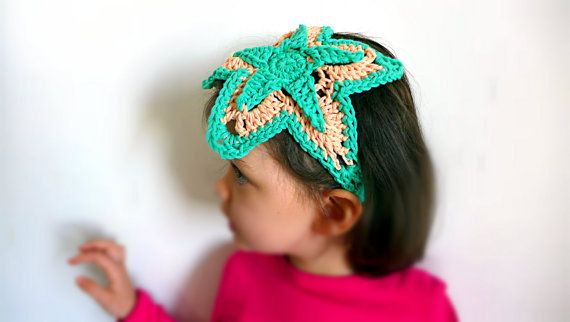 Crochet hairband headband for girls as mermaids, original sea star headband in…