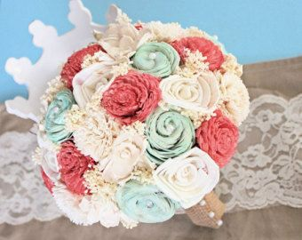 Handmade Wedding Bouquet Peach Mint Ivory Bridal by CuriousFloral