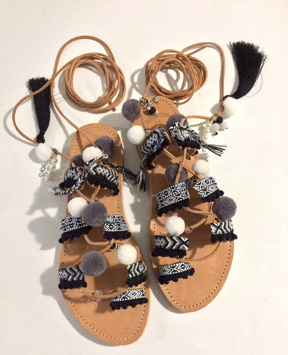 FREE SHIPPING Tie Up Sandals '' Carribean by BohemianFootprints