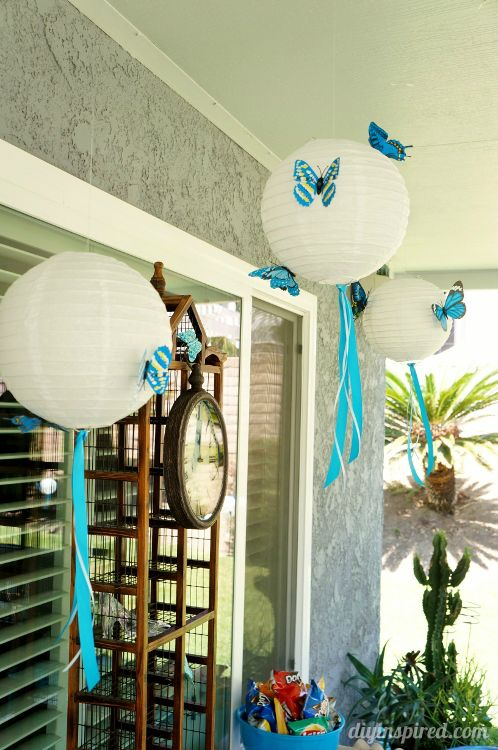 Easy Butterfly and Ribbon Party Lanterns - Cinderella Movie Party with Butterflies