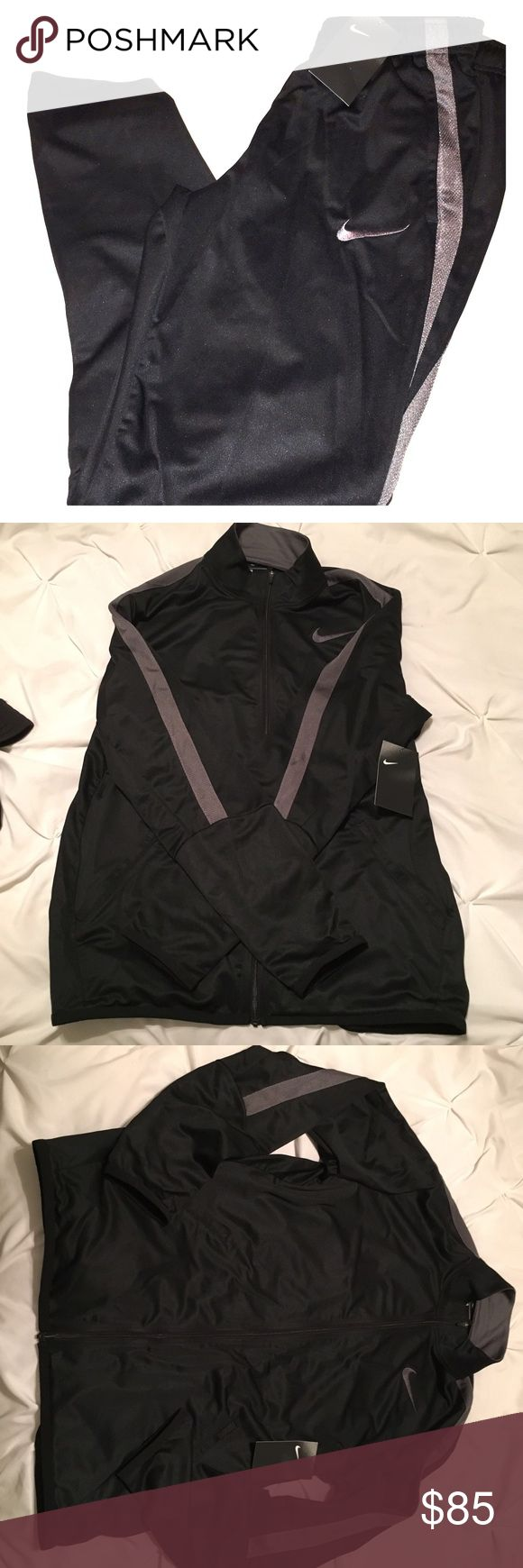 Men's Nike sweatsuit Brand new Black and grey never been worn Nike sweatsuit still has tags the jacket is a men's size medium and the bottoms are a men's size small Nike Other
