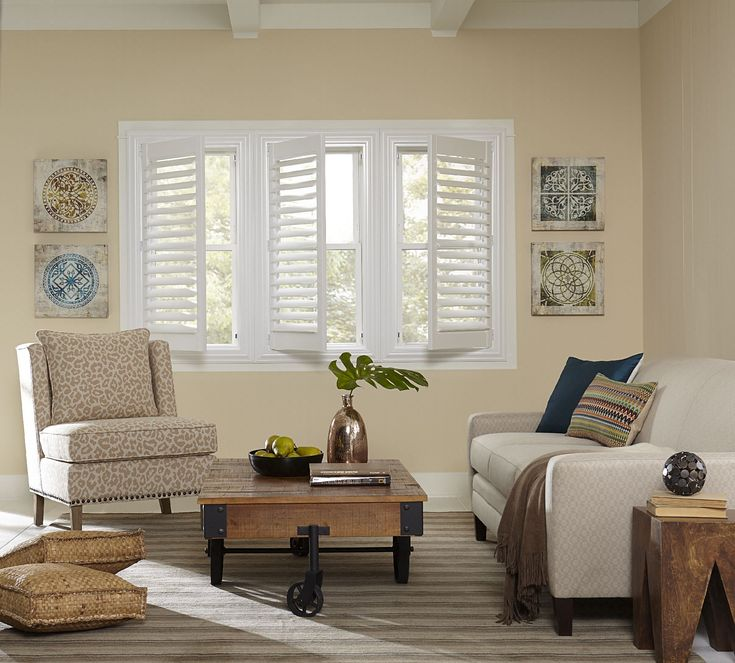 Ideal Blinds Economy Faux Wood Shutters give your home the charm of plantation shutters but