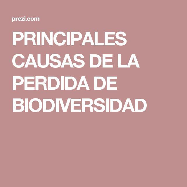 PRINCIPALES CAUSAS DE LA PERDIDA DE BIODIVERSIDAD