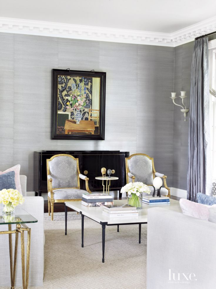 Traditional Gray Living Room With Gold Accents