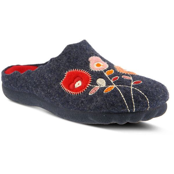 Spring Step Wildflower Women's Navy Slipper (336860 PYG) ❤ liked on Polyvore featuring shoes, slippers and navy
