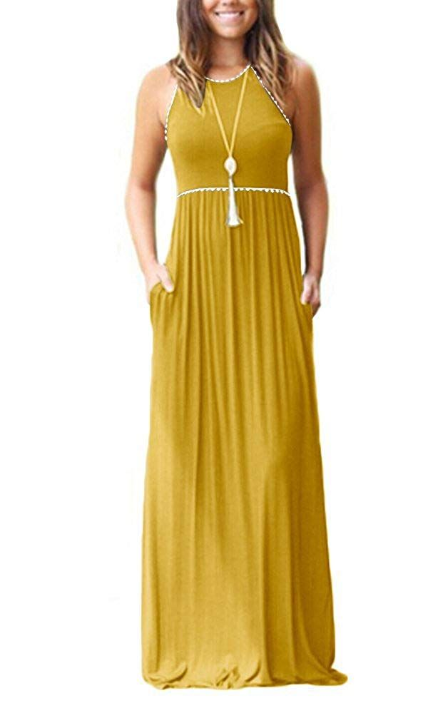 058b49aacffa Classic A line sleeveless cami tank maxi with pleated empire waist. Soft  and stretchy fabric