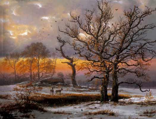 Johan Christian Dahl (1788–1857): Dansk vinterlandsskab med stendysse, 1838.