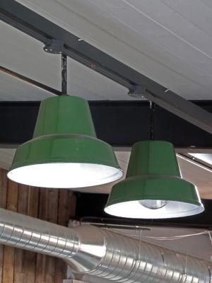 mid century green enamel factory pendants with white enamel interiors £250