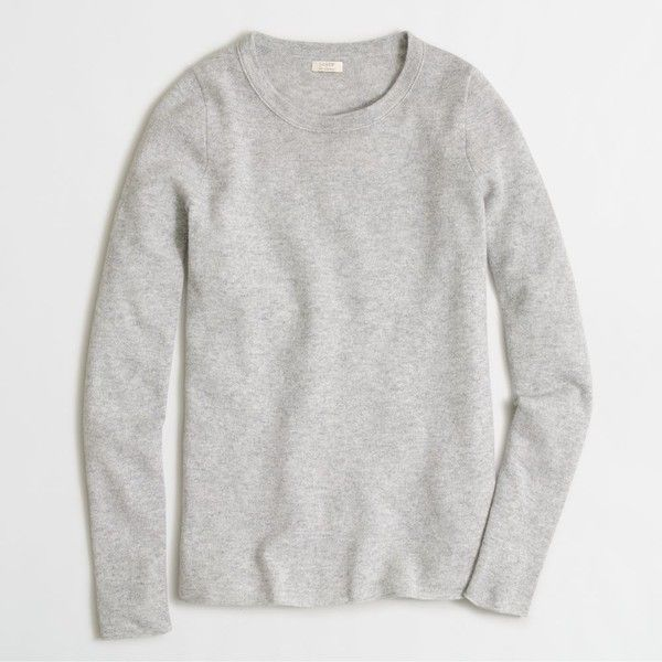 J.Crew Factory long-sleeve cashmere tee ($138) ❤ liked on Polyvore featuring tops, t-shirts, j crew tee, j.crew, long sleeve tops, cashmere t shirt and long sleeve t shirts