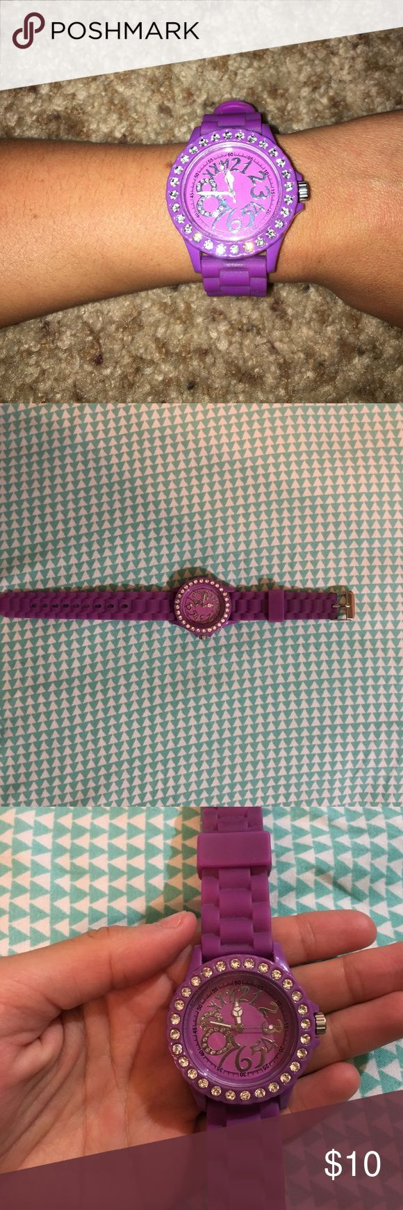 Charming Charlie's Women's  Watch This darker/bright purple watch looks great with any outfit! Sparkly gems on outer ring of watch face. Minor scratches. New battery installed. Charming Charlie Accessories Watches