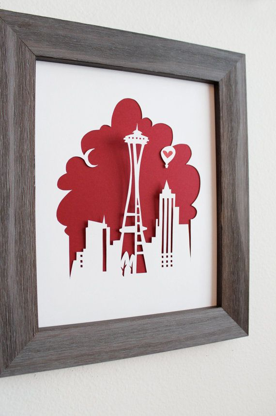 Seattle WA  Personalized Gift or Wedding Gift by Cropacature, $27.00