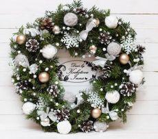 Рождественский венок на основе из живых веток пихты / Рукоделие