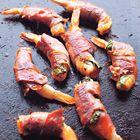 Gegrilde garnalen met rauwe ham