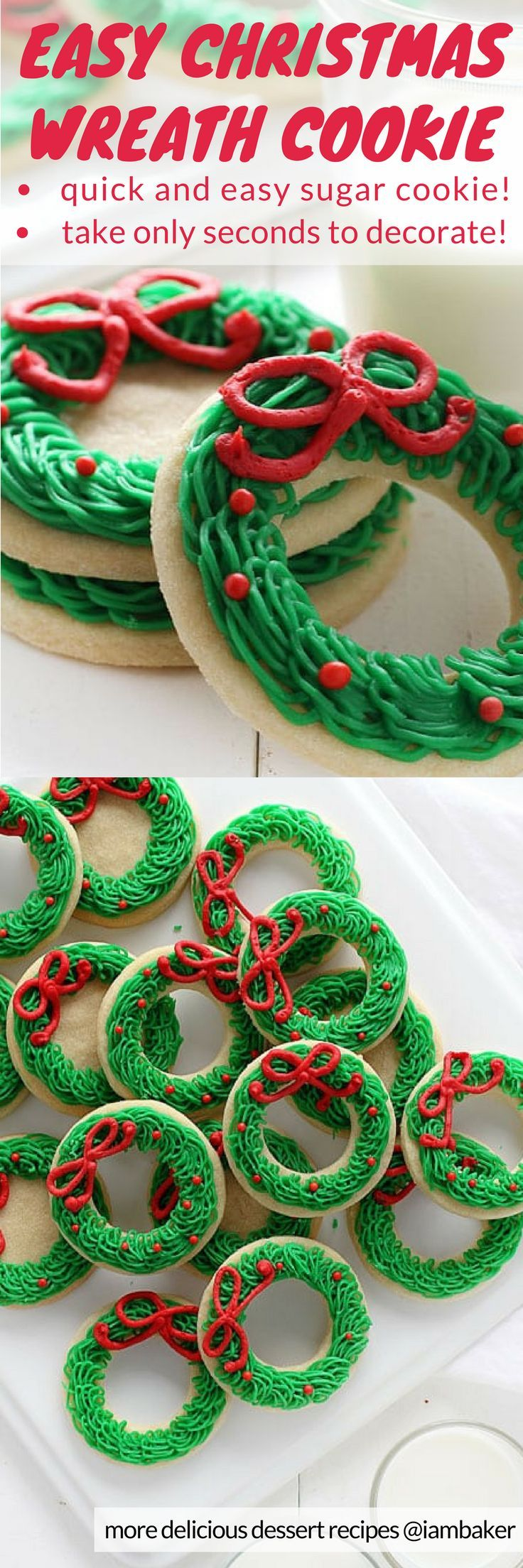 SUGAR COOKIE CHRISTMAS WREATH - easy cuts--circle within a circle.