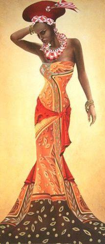 Leon-Wells-Gorgeus-African-Fertig-Bild-30x70-Wandbild-Afrika-Frau