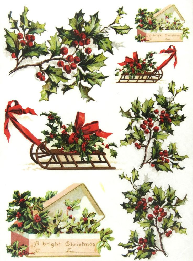 Ricepaper/ Decoupage paper, Scrapbooking Sheets /Craft Paper Christmas Mistletoe: