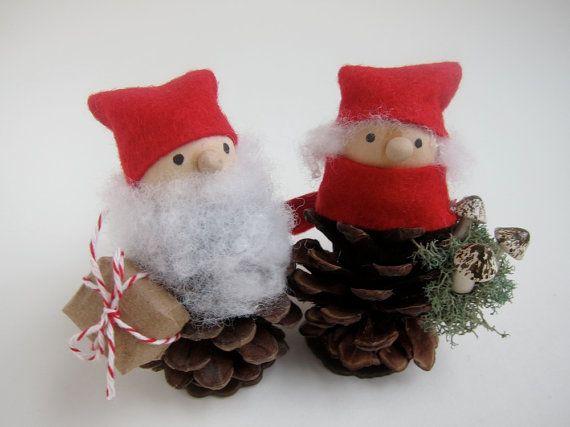 Pinecone Mr. and Mrs. Santa Claus Woodland Holiday by kaniko