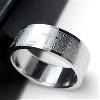 mj2   Popular Wu Zun favorite Bible verses titanium steel ring Lord's Prayer Cross male fashion
