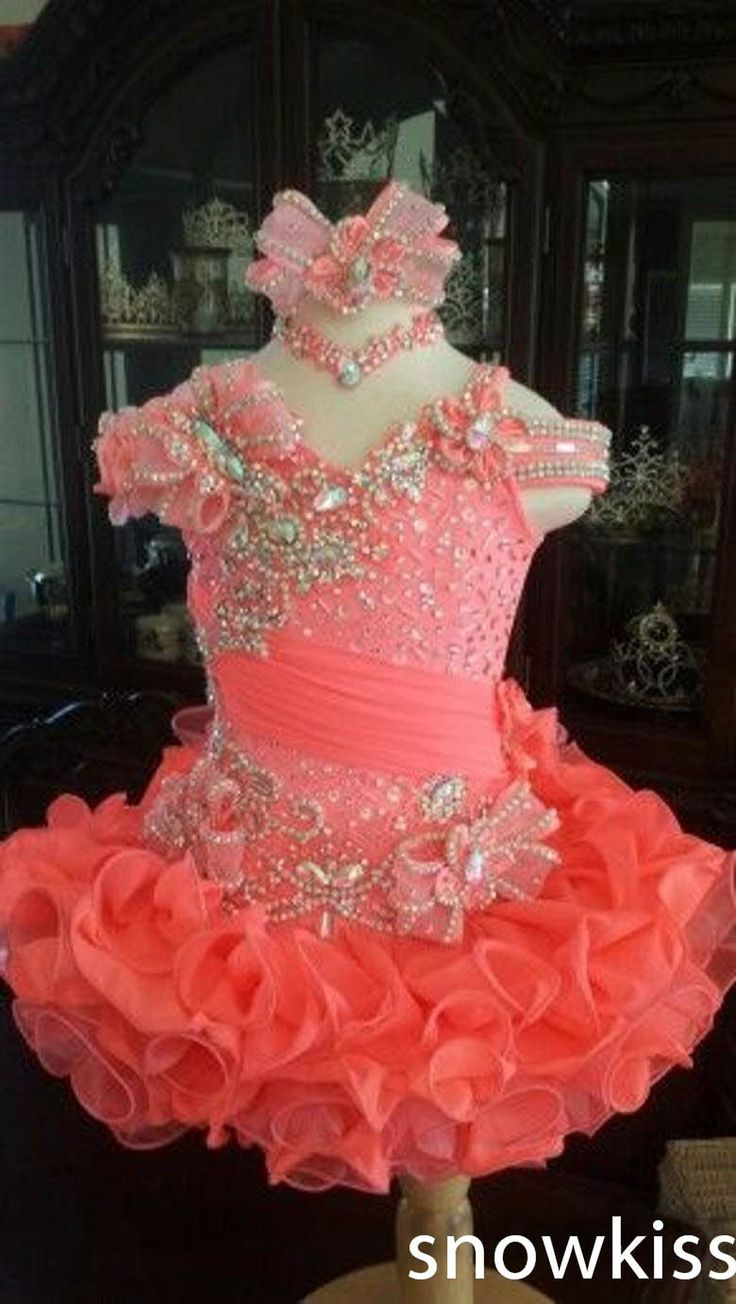 Cute mini kids glitz pageant dresses sparkly beading crystals pleated organza ball gowns with flower glamorous toddler frocks(China (Mainland))