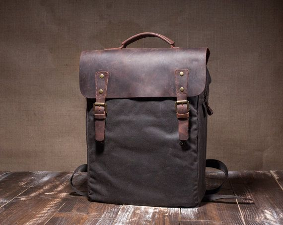 Hey, I found this really awesome Etsy listing at https://www.etsy.com/listing/260922518/waxed-canvas-bag-mens-backpack-waxed