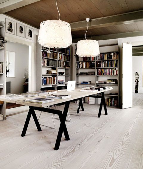 I love this home office in Denmark - modern yet warm. By the way, the entire house is gorgeous...