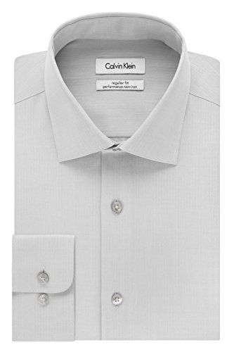 Calvin Klein Mens NonIron Solid Herringbone Shirt >>> More info could be found at the image url.
