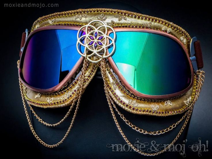 "Burning Man Festival Goggles: ""Cerebral Geometry"" ~ Anti-Dust, UV protection, steampunk aviator style - perfect for the playa! by MoxieandMojoFashion on Etsy https://www.etsy.com/listing/523943193/burning-man-festival-goggles-cerebral"
