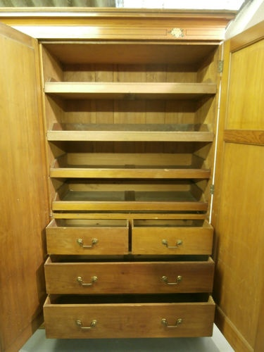 Antique Arts & Crafts Style Pine Linen press compactum mirror wardrobe Storage | eBay