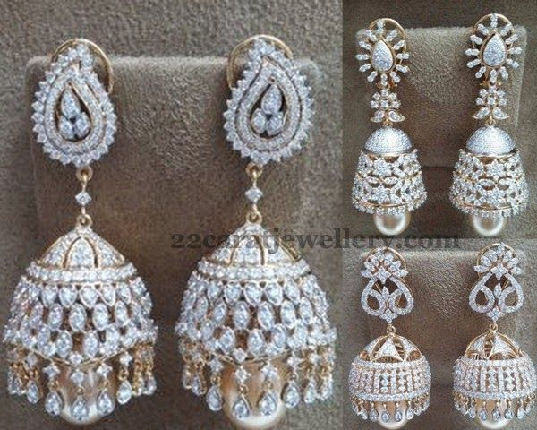 Jewellery Designs: Diamond Jhumkas Collection 18ct Gold