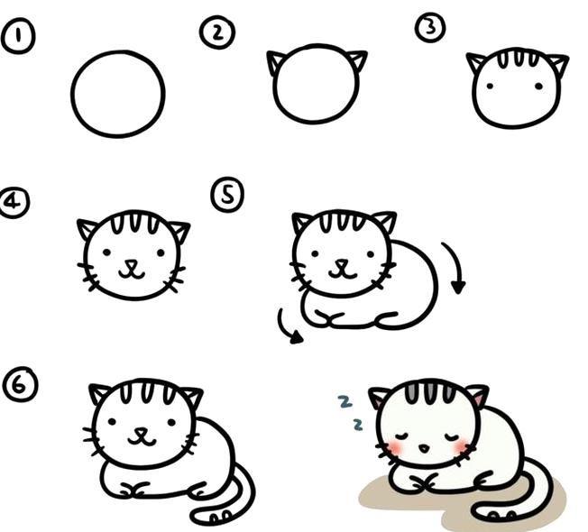 Dessin De Chat Mignon Dessin Facile A Faire Maitrise Artistique Apprendre Le Dessin Pour Enfant In 2020 Hello Kitty Kitty Applique
