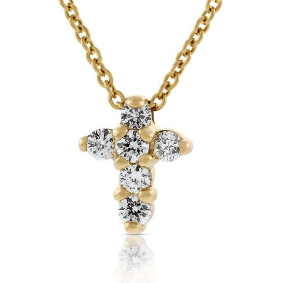 Roberto Coin Petite Diamond Cross Necklace 18K