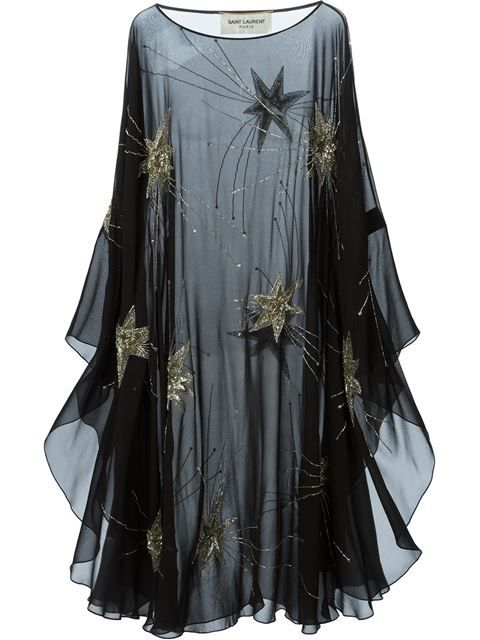 Saint Laurent sheer embroidered dress.