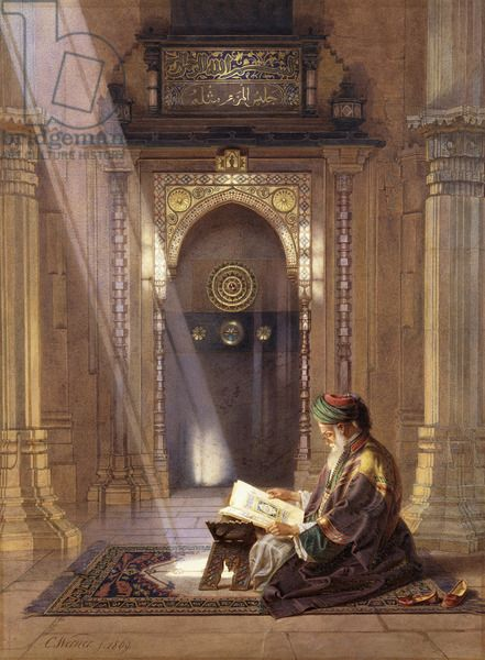 Reading the Noble Quran in the Mosque. Excellent! ---- Artist Carl Friedrich Heinrich Werner More
