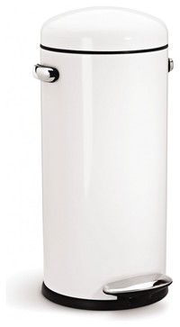 30 Litre Retro Step Can, White Steel - modern - kitchen trash cans - by simplehuman